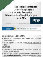 Avanços Decreto Estadual no Tratamento para  as MPEs  - Alberto Barros Lima - SEBRAE