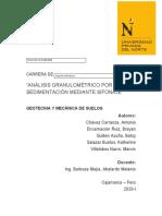 Análisis granulométrico por sedimentación mediante sifonaje. - GEOTECNIA Y MECANICA DE SUELOS-