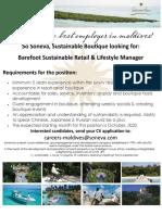 Barefoot Sustainable Retail & Lifestyle Manager, Soneva Jani