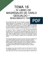 CARLO GESUALDO IV LIBRO DE MADRIGALES- renacimiento tardío
