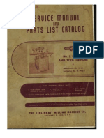 Cincinnati #2 Tool & Cutter Grinder Parts & Service Manual 1975