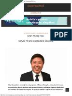 Chan Kheng Hoe COVID-19 and Contractors' Dilemma - Construction Plus Asia