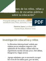 Percepciones de los niños, niñas y adolescentes de escuelas públicas sobre su educación