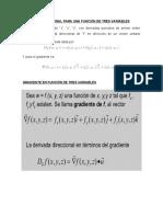 Derivada direccional para una función de tres variables
