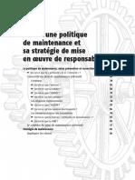 Définir une politique de maintenance et sa stratégie de mise en œuvre de responsabilités