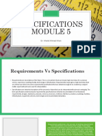 Module 5 - Specifications