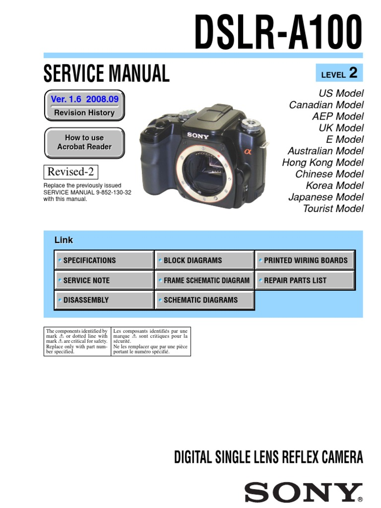 sony dslr a100 service manual level 2 ver 1 6 2008 09 rev 2 9 852 rh scribd com Sony A7 Sony Camera 2008