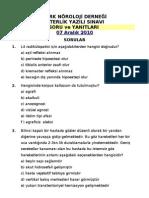 TND 2010 Yeterlik Yazılı Sınavı Soru ve Yanıtları