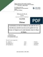 Contribution au suivi de l'influence du cadre de vie et des diverses activités exercées sur la qualité de l'eau de mer et l'impact sur la santé humaine dans la wilaya.pdf