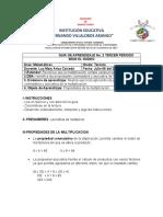 GUIA TALLER MATEMATICAS PROPIEDADES DE LA MULTIPLICACION GRADO TERCERO SEDE EL RODEO LUZ MARY ARIZA CAICEDO LUNES 06 DE JULIO DE 2020