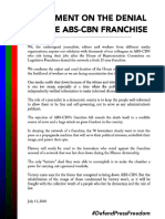 Statement of Journalists and Media Workers on ABS-CBN franchise