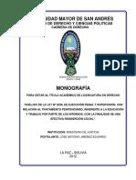 ANÁLISIS DE LA LEY Nº 2298, DE EJECUCIÓN PENAL Y SUPERVISIÓN. CON RELACIÓN AL TRATAMIENTO PENITENCIARIO CON LA FINALIDAD DE UNA EFECTIVA REINSERCIÓN SOCIAL