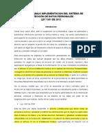 PLAN DE TRABAJO IMPLEMENTACIÓN DE LA LEY 1581 DE 2012