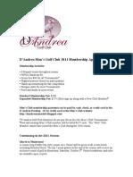 D'Andrea Men's Golf Club 2011 Membership Application