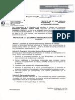 Proyecto de ley que crea la Universidad Nacional Autónoma de Collique