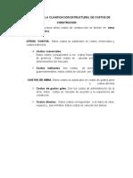 DESCRICION DE  LA CLASIFICACION ESTRUCTURAL DE COSTOS DE