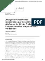 Analyse des difficultés rencontrées par des élèves Algériens