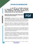 Nota de prensa sobre la subvención de infraviviendas.
