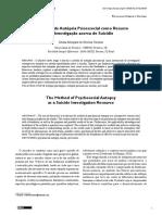 O Metodo de Autopsia Psicossocial como Recurso de Investigação acerca do suicídio