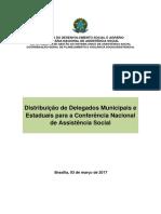 Nota técnica DGSUAS - Anexo I Distribuição de Delegados Municipais e Estaduais para a Conferência Nacional de Assistência Social - CONFERENCIA 2017.pdf