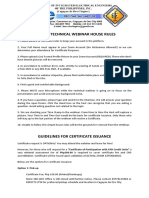 Technical Webinar House Rules and Certificate Issuance Guidelines