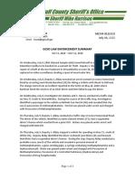 GULF COUNTY SHERIFF'S OFFICE LAW ENFORCEMENT SUMMARY JULY 6, 2020 – JULY 12, 2020