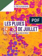 festival Les Pluies de Juillet 2020 - dossier de presse