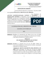 Despacho Proyecto de Ley 30578 (Modificación Ley № 10326 - Código de Convivencia Ciudadana).-