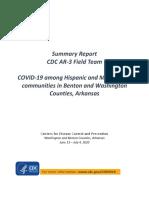 CDC report among Hispanic and Marshallese communities in northwest Arkansas