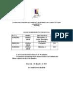 Calendário de Exames Janeiro 2011