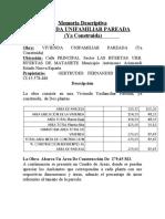 Memoria VIVIENDA UNIFAMILIAR PAREADA de metal LAS HUERTAS Nº 2