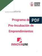 Bases Programa de Pre-Incubación INNOVA UNI 2020