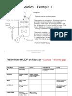 HAZOP Case Studies for Workshop Session