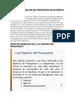 DESCRIPCION Y ANALISIS DEL PRESUPUESTO DE GUATEMALA