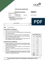 L a Level Physics B 2865 01 Jun 2005 Question Paper
