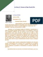 Carta Del Presidente Harry S. Truman Al Papa Pacelli