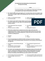 BLEPT Developmental Reading Test Key to Correction