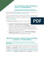 Descripción de la asignatura Lengua Castellana y Literatura