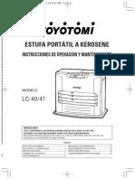 Manual de estufa toyotomi LC-40