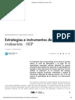 Estrategias e instrumentos de evaluación – SEP