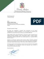 Carta de felicitación del presidente Danilo Medina a Michel El-Hage, por su elección como presidente de la Junta Directiva de CADOCON