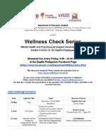 1 Wellness Check Series Schedule of Topics
