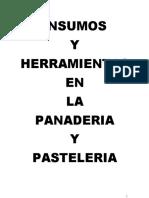 INSUMOS Y RECETAS PANADERIA Y PASTELERIA