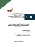Informe Contrato de Sociedad, Personalidad Jurídica de las Sociedades Mercantiles y Clasificación Legal de las Sociedades Mercantiles (1)