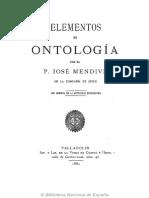Pe. José Mendive, S.J. - Elementos de Ontología [1882]