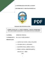 TRABAJO DE INVESTIGACION, ATRIBUCIONES DE LA CORTE SUPREMA, CORTES SUPERIORES, JUZGADOS ESPECIALIZADOS Y JUZGADOS DE PAZ LETRADOS..docx