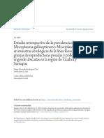 Estudio retrospectivo de la prevalencia de Mycoplasma galliseptic
