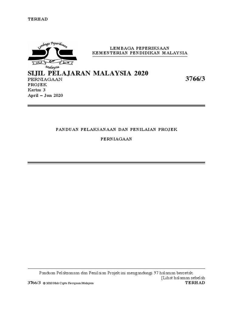3766 Panduan Pelaksanaan Kerja Kursus 2020
