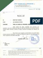 NOTE (PRISE EN CHARGE DU PERSONNEL DOMESTIQUE) (Agences & Directions (Toutes))