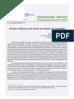 Aptidão agrícola dos solos do estado do Tocantins
